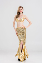 Wholesale Latex Clothes Xxl - Fashion New Latex Clothing Sequins Flash Color Split Mermaid Party Dresses Halloween Cosplay Mermaid Dress sexy costumes for women nightclub