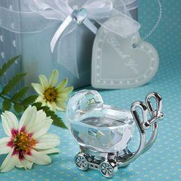 2019 caja de regalo bebé cristal Recién nacido Carriage Crystal Baby Shower Boy Girl Kids Birthday Party Favors para invitados lembrancinha de baby + Gift Box F2017531 caja de regalo bebé cristal baratos