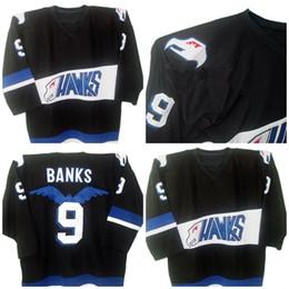Wholesale Hawk Jerseys - throwback ice hockey jerseyMighty Ducks Movie Jersey Hawks Adam Banks #9 Men's 100%biack Stitched Embroidery Logos Throwback Hockey Jerseys