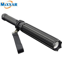 Wholesale Rechargeable Led Tactical Flashlight - 5 Mode 4500LM Self-defense LED Flashlight CREE XM-L2 Mace Bat Flashlight Outdoor Patrol Rechargeable Torch Lantern