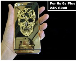 Wholesale 24k Gold Housing - For iPhone 6s 6s Plus 24kt 24ct 24k Mirror Gold Skull Plated Housing Cover Chassis Middle Frame Replacement Free DHL