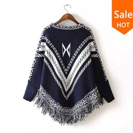 Wholesale Long Sleeve Winter Womens Tops - Wholesale-Women Autumn Winter Sweater Knitted Batwing Tassel Pullover Sweaters Tops Knitwears Womens Capes and Ponchos Womens Clothings