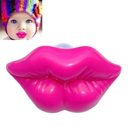Wholesale Lips Baby Dummy - Wholesale- Baby Cute Toys Kiss Style Kids Baby Dummy Soother Lip Prank Infant Pacifier Rose Red FL