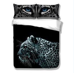 Wholesale Leopard Print Comforter Queen - New 100% Polyester 3d Lifelike Snow Leopard 3D Bedding Set of Duvet Cover Bed Sheet Pillowcases