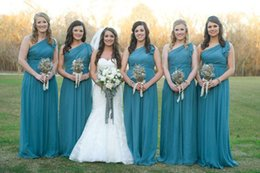 Wholesale Teal One Shoulder Chiffon Dresses - Teal Chiffon Long Bridesmaid Dresses One Shoulder Ruffle Zipper Floor Length Plus Size Wedding Maid of Honor Gowns Formal Evening Dress 2017