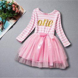Wholesale Long Sleeve Baby Tutu Birthday - First Birthday Baby Clothes Pink Gold Letter Girls Tutu Dress Long Sleeve Striped Toddler Outfit Baby Girls Birthday Dress