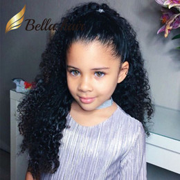 Wholesale Small Cap Wigs - Cute Children Wigs Deep Curly 8-24inch Customized Small Cap Size Elastic Back Band Kids Full Lace Wigs Full Hand-Tied Curly Hair Lace Wig