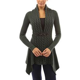 Wholesale Yellow Striped Sweater Women - Wholesale- Womens Ladies Fashion Knit Cardigans Long Sleeve Scarf Collar Slim Asymmetric Hem Casual Sweater Solid Knitwear Outerwear GQ3043
