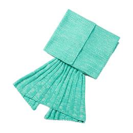 Wholesale Wholesale Women Bag Europe - 180x80 Adult Mermaid tail blanket women men Crochet Warmer Knit Twin Blanket Handmade Cocoon Super Soft bed Sleeping Bags 11 colors