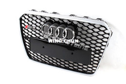 Wholesale Mesh Grills For Cars - A5 RS5 Silver Frame Balck Mesh Grill, Auto Car Grill Bumper Honey Grill For Audi (Fit For 2013 A5 S5 RS5 Sline )