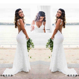 Wholesale Backless Mermaid Dress - Sexy Lace Wedding Dresses Country Style Count Train Deep V Neck Backless Wedding Dress Hoho Cheap Handmade Mermaid Bridal Gowns Simple Wear
