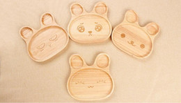 Wholesale Compartments Tray - Fashion Cartoon Rabbit Wood Plate With Divided Tray Appetizer Platter 3 Compartment Dinner Plate For Kid
