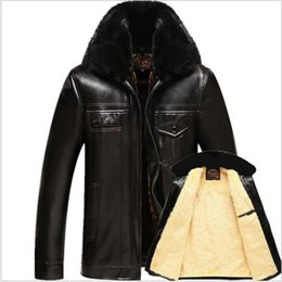 Wholesale Men Leather Down Jacket - Wholesale- Men Winter Velvet Thick Warm PU Leather Down Jackets New Male Solid color Outwear Coats Against the Cold Down Parkas Large Size