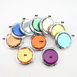 Wholesale Compact Cosmetic Mirror Wholesale - 50 Pcs lot + New Arrivals Cosmetic Compact Mirrors Crystal Magnifying Multi Color Make Up Makeup Tools Mirror Wedding Favor Gift #Y195