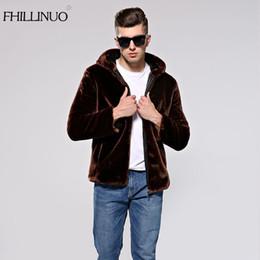 Wholesale Mink Fur Coat Hood - FHILLINUO Winter Men Coat Faux Mink Fur Coats With Hood Thick Warm Long Sleeve Solid Fur Overcoat Fashion Fur Outerwear jackets