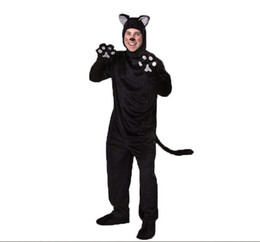 Wholesale Dress Suit Male Men - Halloween Family Costume New Men Black Cosplay Cat Fitted With Tail Adult Animal Suits Cosplay Halloween Costume Cartoon Jumpsuits Dress Up