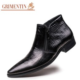 Wholesale Wedding Boots For Men - Wholesale-GRIMENTIN brand crocodile grain mens ankle boots genuine leather comfortable pointed toe luxury men dress shoes for wedding O4