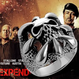 Wholesale Wholesale Gothic Men - The Expendables Skull Ring Punk Biker Style Gothic Skeleton Rings for Men 316L Stainless Steel Stallone's Lucky Ring Jewelry for EXP Fans