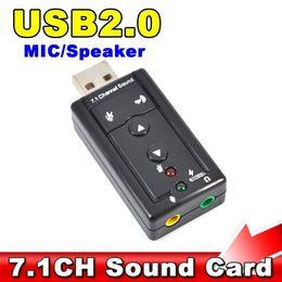 Wholesale Sound Card For Desktop - Mini 7.1 CH Channel USB Sound Card Mic Speaker 3D External Sound Cards Adapter for Desktop Notebook