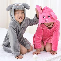Wholesale Cartoon Girls Beautiful Clothes - Hooded Bathrobe 5 Colors Cartoon Animal Dog Beautiful Style Baby Cotton Towel Girls Boys Clothing Pajamas