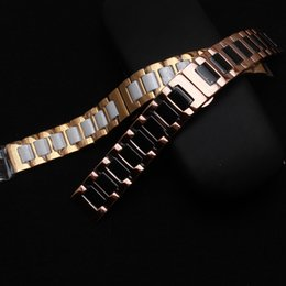 Pulseras de correa de acero inoxidable y cerámica pulseras negro blanco con ajuste de metal oro rosa Sumsang Gear S2 S3 pulsera de moda hombre ladys desde fabricantes