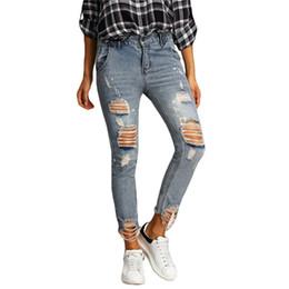 Wholesale Bleach 42 - Women Fashion Jeans Hollow Out Skinny Denim Jeans Woman Pencil Pants Patchwork Trousers for Women Bleached Jeans WD064