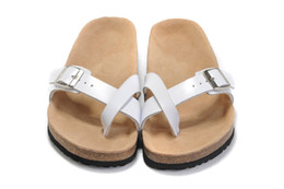 Wholesale Types Heels Sandals - Famous Brand Arizona Flat Sandals Women Casual Shoes X type Female Single Buckle Summer Beach Genuine Leather Slippers With Orignal Box