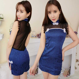 Wholesale Burst Sexy Lingerie - Free shipping new sexy lingerie cosplay burst blue charming sexy sexy lingerie women translucent halter gowns classical Chinese wind