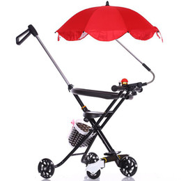 Wholesale Kids Bags Wheels - Multifunctional Five Wheel Baby Trike With Foot Rest Quiet Ride Wheels Storage Bag And Padded Seat Rollover Prevention Tricycle For Kids