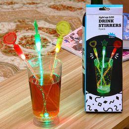 Wholesale Plastic Swizzle Sticks - 23CM Light Glowing Arcylic Stick Wedding Decoration Wine Cocktail Stir Sticks LED Swizzle Sticks Bar Event Party Supplies ZA4542