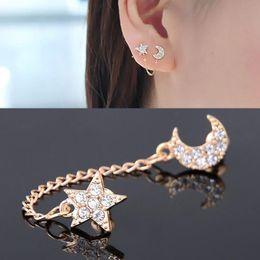 Wholesale Crystal Earrings Single - Hot Full Rhinestone Moon Stars Earrings for Women Monaural Two-Hole Ear Clips Crystal Stud Earring Single Piece Girl Gifts