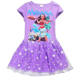 Wholesale Spandex Lycra Dresses - Girls Dress Summer 2017 Girls Ball Gown Party Princess Dress Cartoon Print Moana Princess Costume Kids Dresses For Girls Clothes