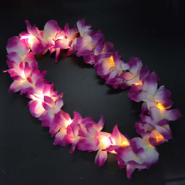 Wholesale Luau Dresses - Light Blinking Hawaii Luau Beach Party Flower Lei Fancy Dress Necklace Hula Garland Wreath Wedding Decor Party Supplies 12-LEDs