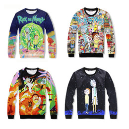 Wholesale Yellow Top Cartoon - Harajuku Cartoon Rick And Morty 3D Print O-Neck Sweatshirts Pullover Hoodies Colorful Tracksuit Tops Sportwear Outfit