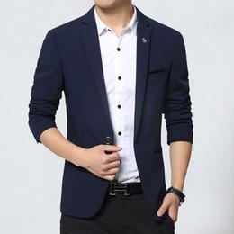 Wholesale Fit Suite - Wholesale- New Design Mens Brand Blazers Korean slim fit cotton Coats Suit Cardigan long sleeve Wedding dress Jacket Male Suite