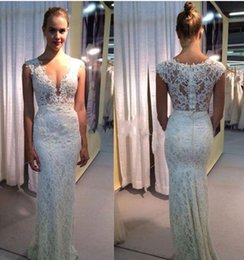 Wholesale Miss Dresses Com - Deep V-neck Long Wedding Dresses Lace Sexy Illusion Bridal Gowns Beach Summer Vestido De Noiva Com Renda