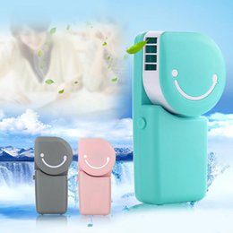 Wholesale Mini Usb Air Conditioning Hand - Mini cooling fans smiling face portable recharge USB air conditioning fan hand-held style built in 600mah battery in it DHL free