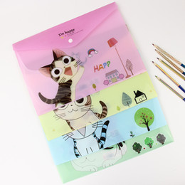 Wholesale Cute Cheese - Wholesale- 1 PC Cute Cartoon Cheese Cat PVC A4 Filing Products File Folder Storage Stationery School Office Supplies