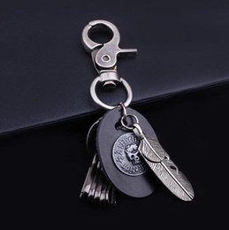 Wholesale Feather Skull Metal - Fashion Women Accessories Genuine Leather Skull Pendant Keycain Alloy Feather Keyrings High Quality Multi-function Key Rings Gift