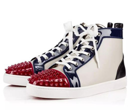 Wholesale Most Prefer Birthday Gift Luxury Party Shoes Spikes Red Bottom Sneaker Flat Men s High Top Lace up Fashion Loubs men casual sneakers Wedding