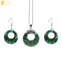 Wholesale Red Gemstone Earring Jewelry - CSJA Fine Jewelry Sets New Fashion Gemstone Crystal Hollow Round Necklace Silver Hook Dangle Earring Dangler Jewellery Set for Women E568 A
