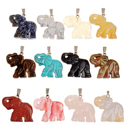 Wholesale Good Luck Elephant - Opal Opalite Tiger eye Elephant Natural Stone Carved 32*25MM Figurine Chakra Bead Pendant Healing Crystal Reiki Feng Shui Bring Good Luck