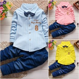 Wholesale Boys Blue Collar Shirt - 2Pcs Baby Boys Long Sleeve T-shirt tops+Denim Pants Set Kids Clothes Outfits Set free shipping