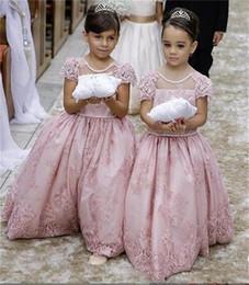 vestidos de menina de flor de comprimento curto Desconto Bonito Pérola Rosa Flower Girls 'Dresses Sheer Jewel Pescoço Curto Lace Mangas Até O Chão Princesa vestido de Baile Primeira Comunhão Pageant Vestido