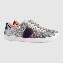 Wholesale Silver Bowtie - New Designer Low Top Silver Pink Sequins Paillette Casual Shoes G G Fashion Luxury Sneakers for Mens Womens