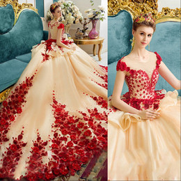 Wholesale Bridal Flowers Pictures - Amazing Vintage Prom Dresses Long Crew Sheer Neckline Peplum Handmade Flowers Red Carpet Dresses Evening Wear Capped Luxury Bridal Gowns