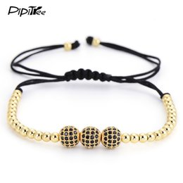 Wholesale Macrame Jewelry - Brand 8MM CZ Ball Beads Braiding Macrame Men Bracelet for Men Jewelry 2017 Hot 4MM Copper Beads Charm Bracelets & Bangles