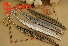 Wholesale Tibetan Metal Bookmarks - 115*13MM Antique Bronze feather hairpin tibetan silver, vintage feather hair sticks jewelry, metal bookmark gold fashion jewellery wholesale