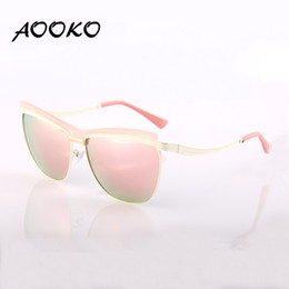 Wholesale Golden Beam - AOOKO AK78102 Fashion Cat Eye Sunglasses Women Brand Designer Metal Reflective Mirror uv400 Sun Glasses For Women Twin-Beams Glasses Gafas