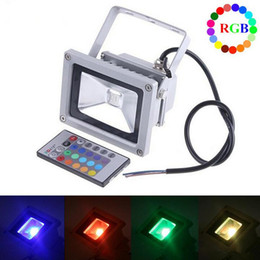 Wholesale high power led floodlight rgb - Outdoor RGB LED Flood Light High Power 10W 20W 30W 50W Floodlight Waterproof IP66 Lamp With 24key Remote Control Holiday Colorful Lights